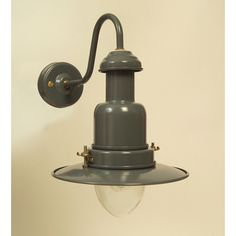 Slate Grey External Fisherman's Wall Light classic swan neck style in a practical outdoor colour. Larger version available too.