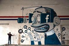 by Mister Thoms - italian street art; What social comment is this street artist making? Amazing Street Art, Amazing Art, Tachisme, Urbane Kunst, Gif Animé, Gif Art, Animated Gif, Street Art Graffiti, Virtual Graffiti