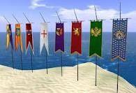 medieval banners including fleur de lis - cute for entry and welcome Medieval Banner, Medieval Party, Medieval Wedding, Medieval Castle, Vbs Crafts, Camping Crafts, Castle Party, Knight Party, Dragons