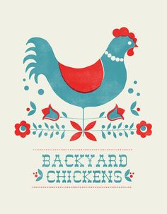 Backyard Chickens In Red Art Print By Jenny Tiffany