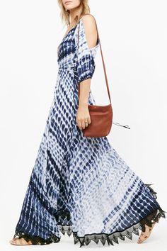 Dot and Line Print V Neck 3/4 Sleeve Maxi Dress $23.99