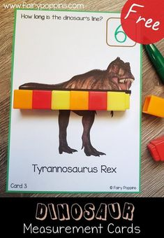 These free dinosaur measurement activities are great for kids in preschool up to first grade. They focus on using non-standard measurement units such as cubes. #dinosaurtheme #measurementactivities #preschoolmath #kindergartenmath #firstgrademath #nonstandardmeasurent