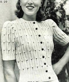 Glam 40s Smocked sweater Vintage Knitting pattern by VanessaLovesVintage, $1.99