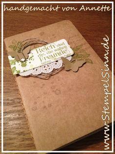 Notizheft, Notizbuch, Schmetterling, Spitzendeckchen, Leinenfaden