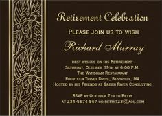 Custom Golden leaves on brown Retirement Party Invites created by IrinaFraser. This invitation design is available on many paper types and is completely custom printed. Retirement Celebration, Retirement Party Decorations, Retirement Cards, Retirement Parties, Brown Wedding Invitations, Dinner Party Invitations, Retirement Party Invitations, Birthday Invitations, Invitation Paper