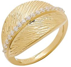 Sigal Style Cubic Zirconia Leaf Design Sterling Silver & Gold Plate Ring