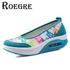 ROEGRE 2017 New Arrival Women Shoes Plus Size 42 Floral Print Ladies Wedges Casual Shoes Purple Grey Blue Female Platform Shoes