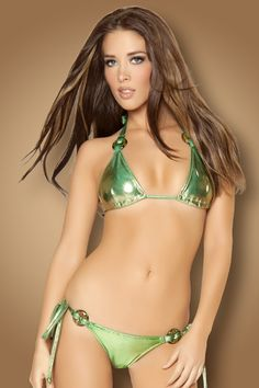 b3a5622a3c4 GREEN GOLD METALLIC PUCKER BACK TIE SIDE BIKINI SWIMSUIT Edm Outfits, Two  Piece Swimsuits,