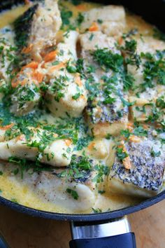 Ryba duszona w śmietance Risotto, Seafood, Food And Drink, Meals, Chicken, Ethnic Recipes, Diet, Food, Pisces