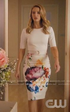 Petra's white floral belted dress on Jane the Virgin.  Outfit Details: https://wornontv.net/71602/ #JanetheVirgin