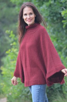 Toss this poncho on & you're ready to face the colder weather.  The collar features a simple to knit cable & eyelet pattern and the body is easy St st.  Knitting from the top down makes it easy to personalize the length.  #desertrosefiberarts