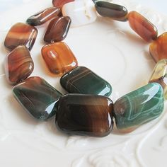 Flat rectangle natural agate beads 24mm green brown by FARRAgem