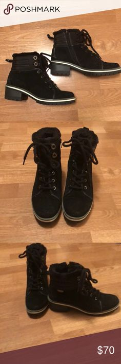 Anne Klein boots Black Anne Klein boots - worn only 2-3 times and in excellent condition. Has fur trim. Size 7. Anne Klein Shoes Ankle Boots & Booties