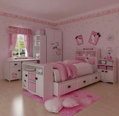 Bedroom Design, Excellent Little Girl Room Decor Furnitures In Preteen Girls Bedroom With Purple Scheme Also Single Sized Bed And Study Desk. Hello Kitty Room Decor, Hello Kitty Bedroom, Cat Bedroom, Small Room Bedroom, Bedroom Sets, Small Rooms, Kawaii Bedroom, Small Spaces, Hello Kitty Zimmer