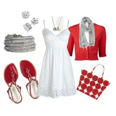 "Women's fashion by LOLO Moda:  ""White dress"" and ""Red sandals"""
