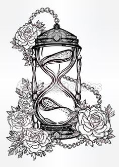 Hand drawn design of hourglass with roses. — Ilustración de stock #91524678