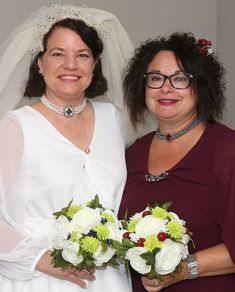 Here you can see some of the finished wedding jewelry being worn by me and Matron of Honor Laura Cibulka.