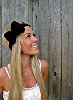Midnight Black Bow Headband with Natural Vegan Coconut Shell Buttons