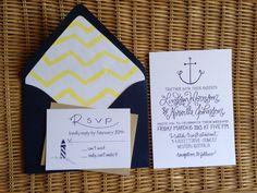 Nautical Wedding Invitations Calligraphy Anchor & Lighthouse seen on Invitation Crush