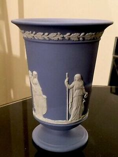 Vintage Wedgwood Blue and White Classical Scenes Vase 1964 Jasperware  | eBay