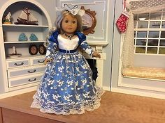 "VICTORIAN HOLIDAY DRESS & ACCESSORIES - 18"" AMERICAN GIRL, CAROLINE, FELICITY"