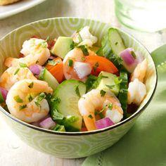 Shrimp Veggie Salad                                                                               ( I would dress with a lemon honey vinegrette)