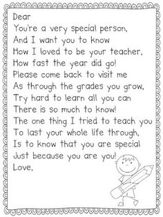 Love this i love giving my students nice letters at the end of the teach junkie 26 fun and memorable end of the school year celebration ideas teacher to student gift poem spiritdancerdesigns Images