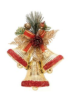 Christmas Bell Decorations Transparent Gold Christmas Bell Decoration Png Clipart  3D