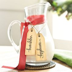 Wooden beverage tags with a ribbon.  How charming!