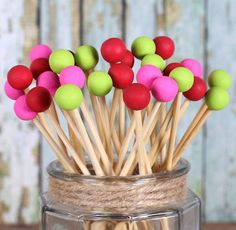 Strawberry Party Painted Rock Candy Sticks in Red, Pink & Lime (12)