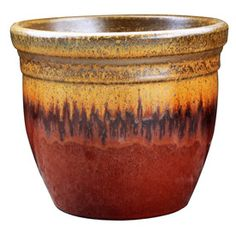Garden Treasures 16.1 In X 15.5 In Red/Gold Ceramic Planter