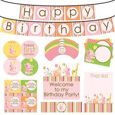 Sweet Safari Girl's Birthday Printable Party by HeartsandScraps, $20.00