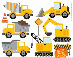 CONSTRUCTION TRUCKS Clipart Printable Instant door VivisPartyShop