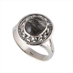 ANTIQUE 925 STERLING SILVER 5.11g BLACK RUTILE DESIGNER RING JEWELLERY #DSJ #RING