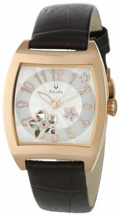 Bulova Women's 97P101 BVA Series Floral Aperture Dial Watch Bulova. $174.24. Silver and white patterned one diamond dial. Water-resistant to 99 feet (30 M). Self winding Mechanical movement. Domed mineral crystal. Leather strap