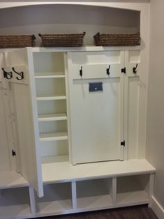 Entry and Laundry Room Sliding Door Closet Organization Ideas Hidden Laundry 53 Ideas Laundry Mud Room, Mudroom Laundry Room, Home, Closet Organization, Entryway Shoe Storage, Storage, Sliding Closet Doors, Closet Makeover, Entry Closet