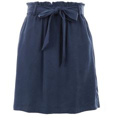 TopShop Petite Paperbag Tie Mini Skirt (440 GTQ) ❤ liked on Polyvore featuring skirts, mini skirts, navy blue, topshop skirts, tie-dye skirts, short blue skirt, navy blue skirts and tie waist skirt