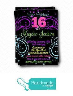 Neon Glow Sweet 16 Birthday Party Printed invitations with Envelopes Prom Invites, Birthday Party Invitations, Sweet 16 Birthday, 16th Birthday, 5x7 Envelopes, Neon Glow, Glow Party, Age, Amazon