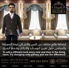 لإضافة طابع مختلف بين الحين والآخر إلى غرفة المعيشة والمجلس, حاول تغيير الـوسائـد والأرائـك ولاحظ الفرق  To add a different look every now and then in the living room, Try changing sofa pillows and see the difference!  #ALGEDRACharacter #Character #animation #ALGEDRA #ALGEDRAInterior #ALGEDRADubai #Dubai #UAE #AbuDhabi #DubaiMall #MOE #BurjKhalifa #HappyDubai #الكيدرا #الكيدرا_للديكور #تصميم_الكيدرا #ديكورات_الكيدرا #تصاميم_الكيدرا #تصميم_داخلي_الكيدرا #ديكورات_راقية_الكيدرا #دبي #الإمارات