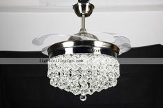 42inch Retractable Crystal LED Ceiling Fan light