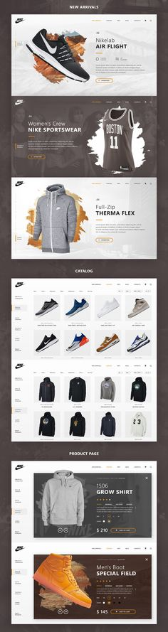 Development of the concept of Nike online store. Made in a minimalistic-urban style with a trendy web design in Creative Web Design, Best Web Design, Web Design Trends, App Design, Logo Design, Nike Online Store, Email Marketing Design, Web Themes, Web Layout