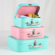 Perfect for organizing little toys and craft supplies. Paper Suitcase Set (Aqua/Pink)  | LandOfNod
