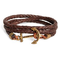 Brooks Brothers Kiel James Patrick Brown Leather Rope Bracelet ($58) ❤ liked on Polyvore featuring men's fashion, men's jewelry, bracelets, jewelry, accessories, pulseiras, joias, saying, quotes and phrase