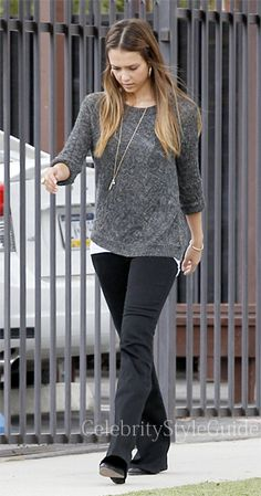 Jessica Alba wore an Asymmetrical Cable Crew Sweater and a Humility Necklace while taking her daughter to school in Los Angeles June 24, 2013   Outfit ID's Found At #CelebrityStyleGuide .com