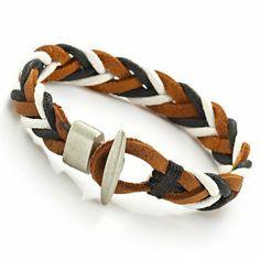 R&B Schmuck Herren Armband Leder - Bohemian Style, Geflochten (Braun, Weiss, Schwarz): 14,90€