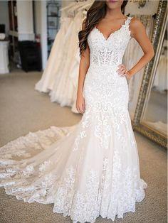 4a18c8a2753 Pretty Lace Applique Spaghetti Straps V Neck Mermaid Wedding Dresses