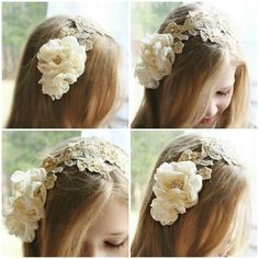 Lace Bridal Headpiece, Gold, Champagne, Bridal Headband, Pearl, Bridal Hair Flowers, Hair Accessorie on Luulla