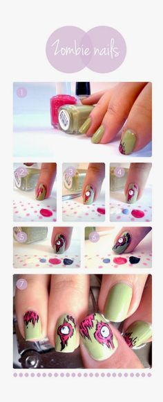 Zombie Nails Tutorial #nail #art #nails #nailart #diy