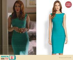 Louise's turquoise green bandage dress on Revenge.  Outfit Details: http://wornontv.net/39161/ #Revenge