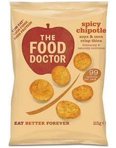 SPICY CHIPOTLE CORN & SOYA CRISP THINS 23G  The Food Doctor Crisp Thins contain less than 99 calories per bag whilst also delivering high levels of protein (25%) & fibre. 80% of people eat too little fibre in their diet, so this is a delicious and healthy answer to that problem. Our Crisp Thins are also 50% lower in saturated fat than standard fried potato based crisp snacks.  SHOP: http://www.thefooddoctor.com/src/fdcom/SPICY-CHIPOTLE-CORN-and-SOYA-CRISP-THINS-23G-PCTSPYCHIPOTLE/